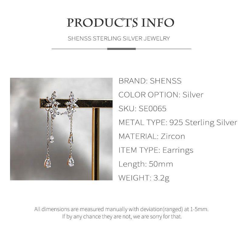 Exquisite zircon petal earrings s925 sterling silver for women wedding