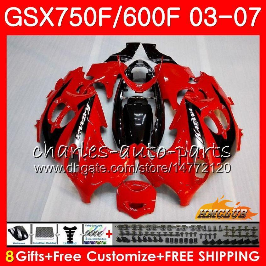 Corps de Suzuki Katana GSXF750 GSXF600 2004 2004 2006 2006 2007 3HC.18 GSX600F GSX750F GSXF 600 750F 04 05 06 07 Kit de carénage à chaud noir rouge