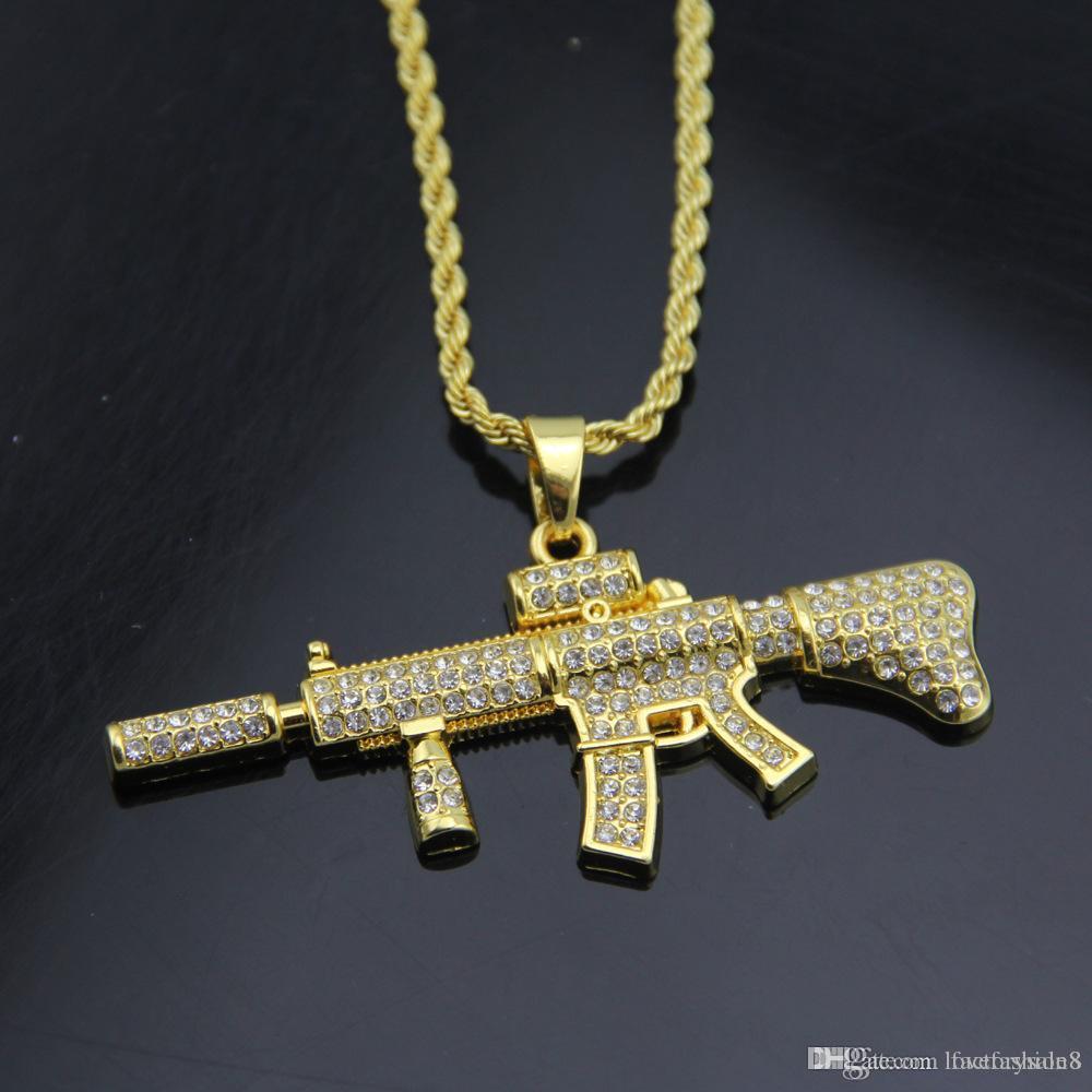 Collane pendenti 18k oro placcato Rapper M4 submachellone pistola 75cm Collane ciondolo HIPHOP New York oro colore 2017 luglio stile