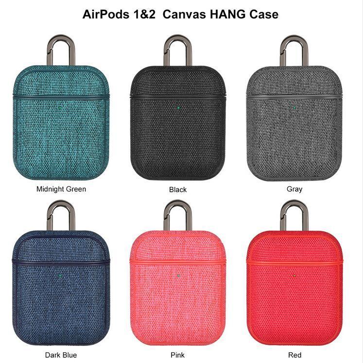 Leinentuchbeschaffenheit Kopfhörer-Kasten für Apple AirPods 1 2 Wireless Headset Ladebox Stoß- Stoff-Haut-Beutel mit Haken Capa