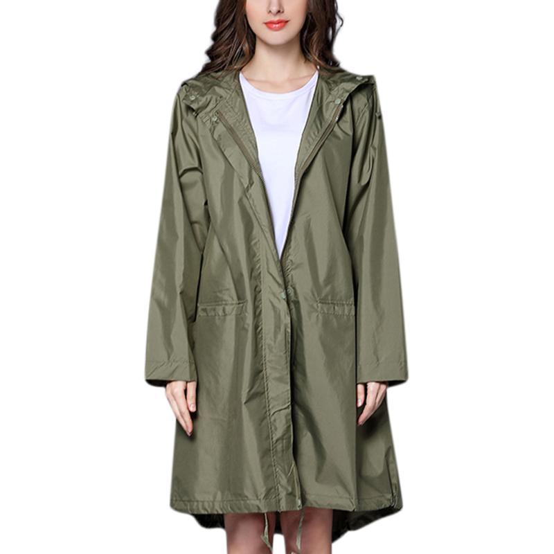 Chuva revestimento das mulheres ao ar livre Waterproof Brasão Windproof Outwear plus size casacos longos casacos mulheres casaco feminino jaquetas casuais # 713