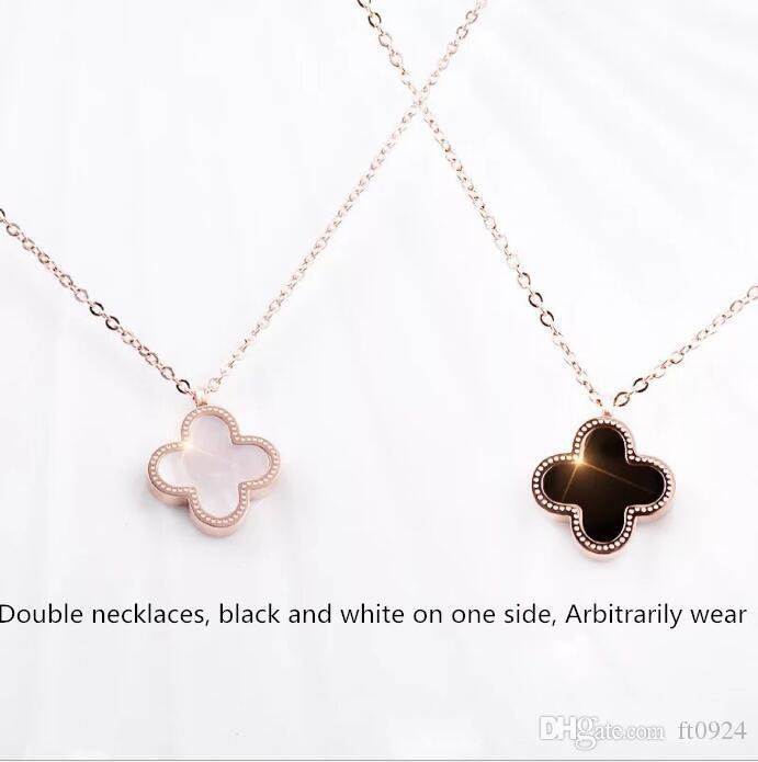 Diseñador de Hip hop de acero inoxidable clavícula colgante de cadena de joyería de moda personalidad Sacudiendo joyería Collar de Oro Rose populares
