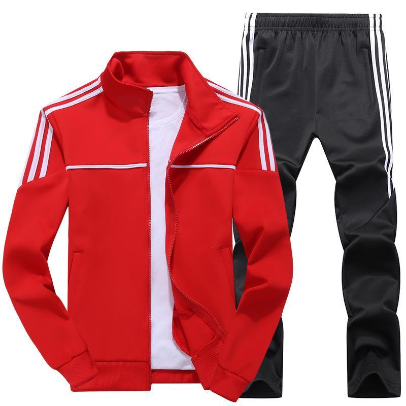 Осень New Men Tracksuit Casual Solid Полосатый Zipper наборы Две пьесы Пиджаки + брюки 2020 Мужской спортивной одежды Спортивные костюмы и пиджаки