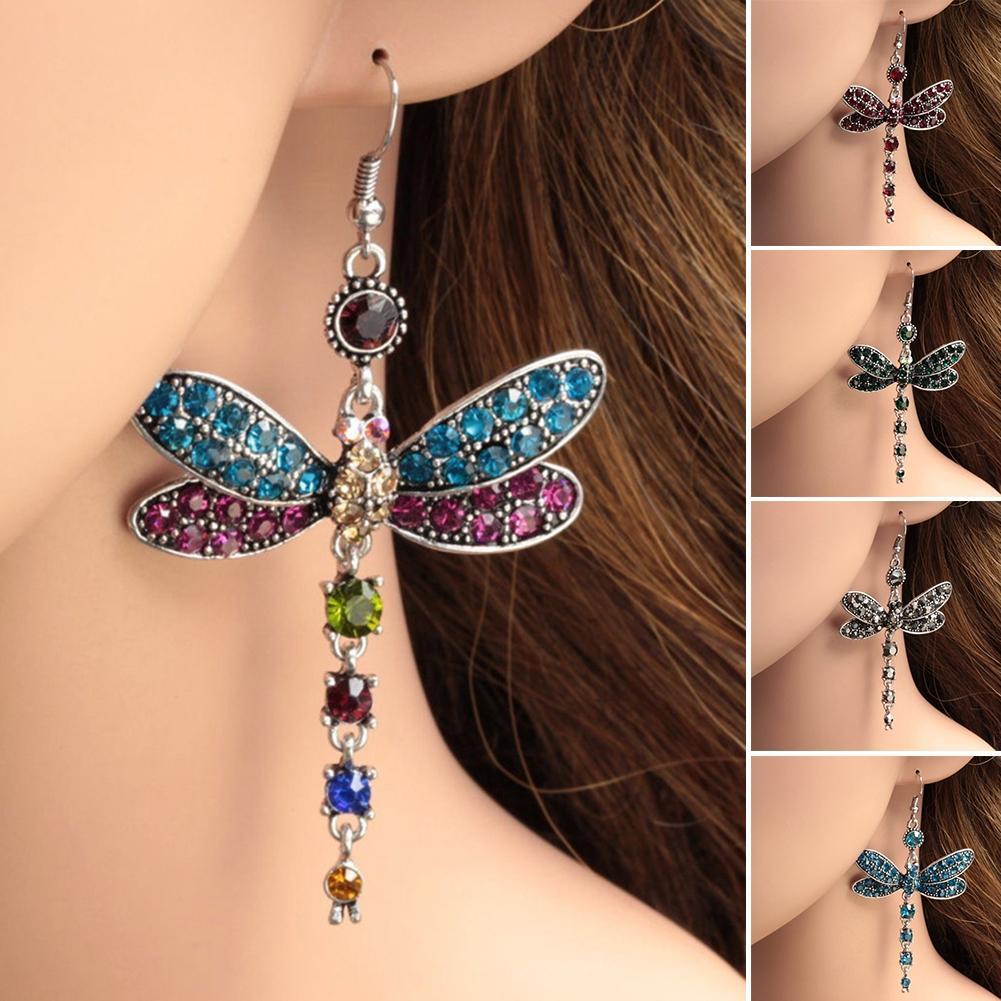 2020 yeni Pretty Renkler Dragonfly Küpe Kristal Rhinestone Gümüş Kaplama Kanca Küpe Dangle Küpe Kadınlar Dekorasyon Toptan