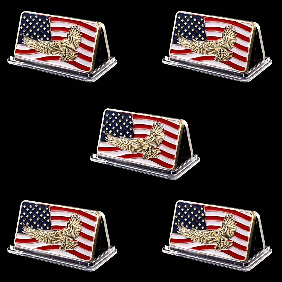 5pcs Ohio Standing With Honor Dignity Respest Patriot Guard Eagle Flag 1oz Gold Plated Souvenir Bar Art Collection