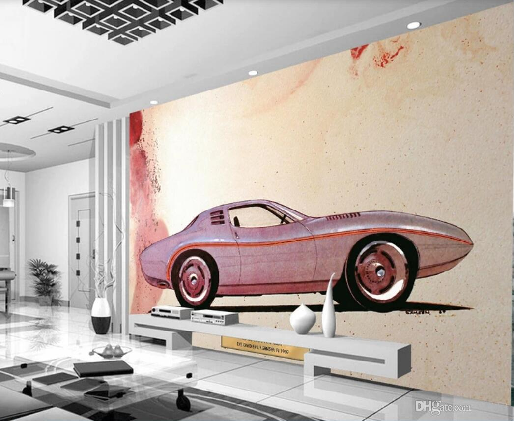 3d Room Wallpaper Custom Photo Mural European And American Retro Classic Car Mural Ink Background Painting Wallpaper For Walls 3 D Images In Wallpaper Images Of Wallpapers From Wdbh1 13 15 Dhgate Com