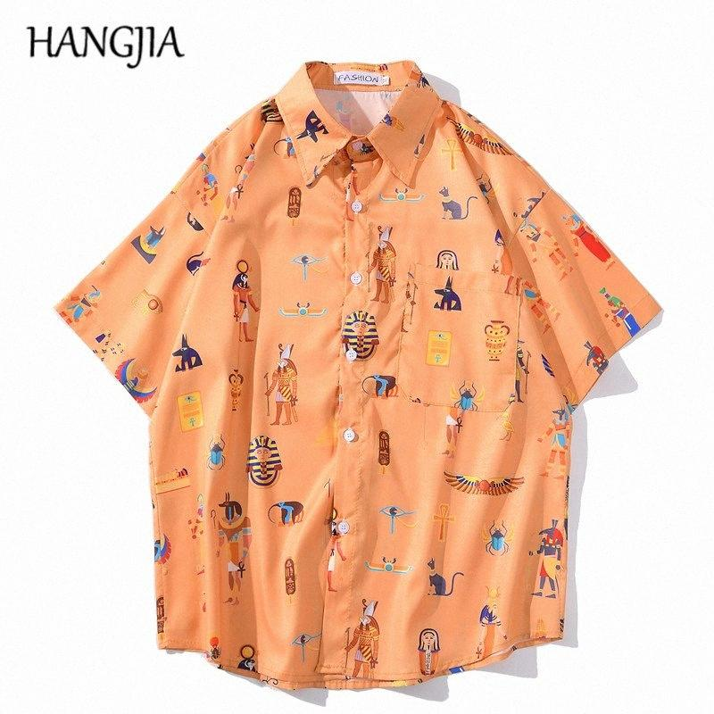 Harajuku plage Casual Chemise imprimée pour hommes d'été à manches courtes chemises hawaïennes hommes Côtière Streetwear Chemises Tout-match blZ0 #