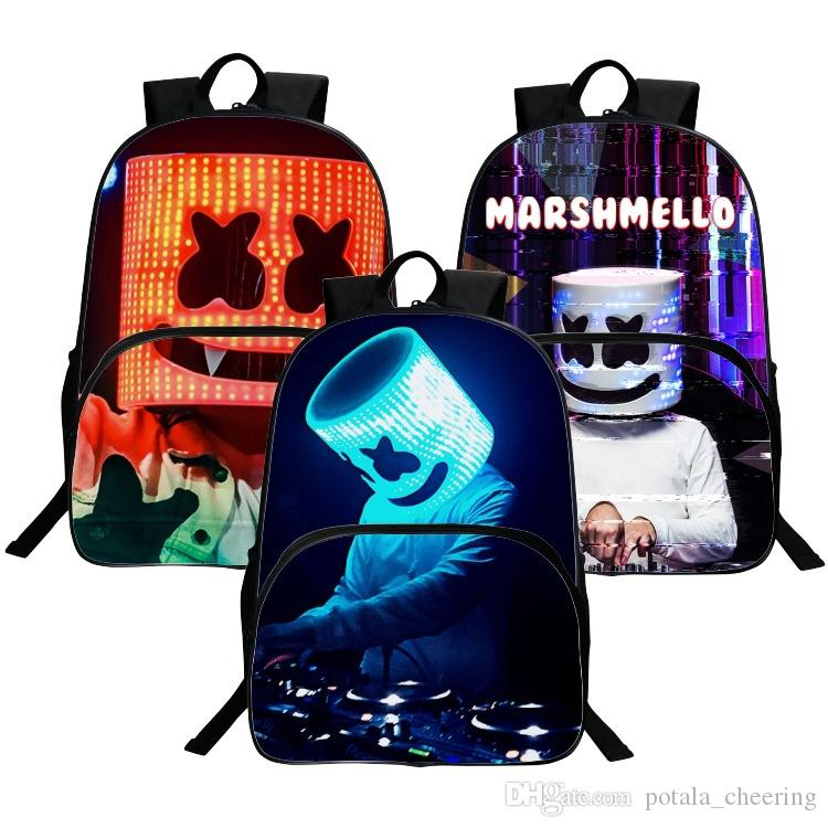1PC DJ Backpack Marshmallow Multifunction School Bag for Boys Teenagers Student Book Bags Girls 16inch DJ Smile Novelty Travel Shoulder Bag
