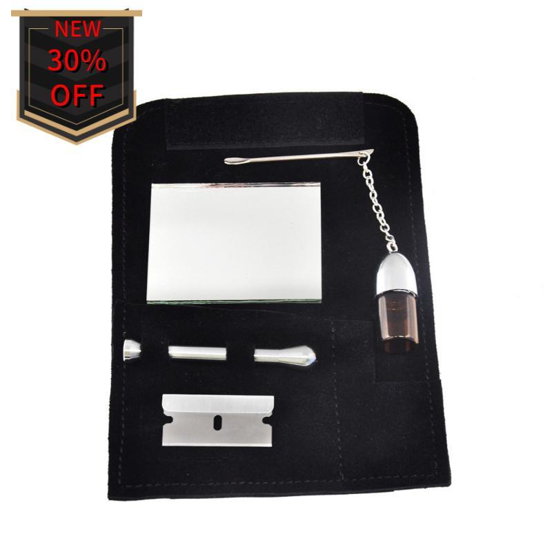 Tabaco carteira feno carteira de couro ferramenta de ajuste 5 peça snuff ferramenta Snorter nova ferramenta portátil fumo de alta qualidade fumar terno de couro preto