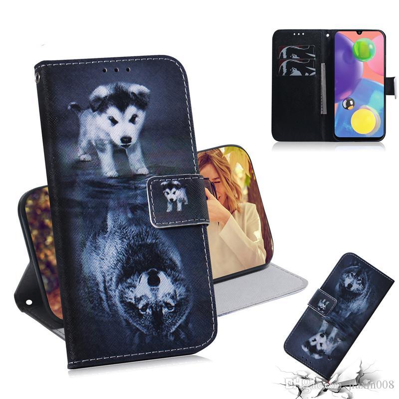 Cassa del raccoglitore per Samsung Galaxy A51 / A71 / A70S / S11 / S11E / S11 Inoltre Filp copertina colorata lupo tigre leone Gufo cane con slot per scheda