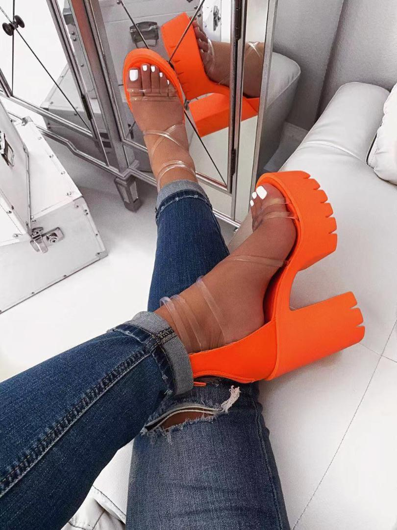 Orange PVC Jelly Sandals Peep Toe Thick High Heels Women Shoes Clear Narrow Band Platform Transparent Plus