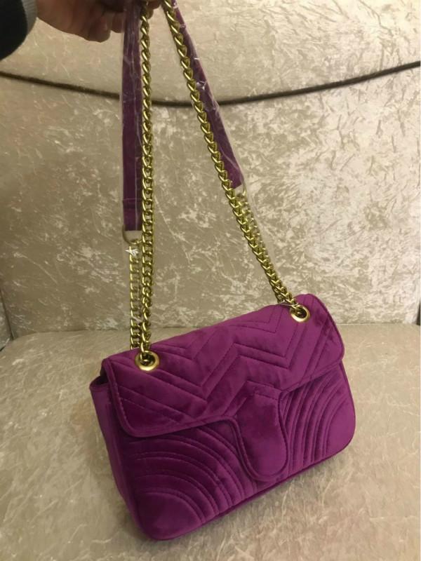 QAJPK Velvet Sacs Sac Sac à main Chaîne Handbags Handbags Épaule Femmes Mode Designer-Marmont Tihig