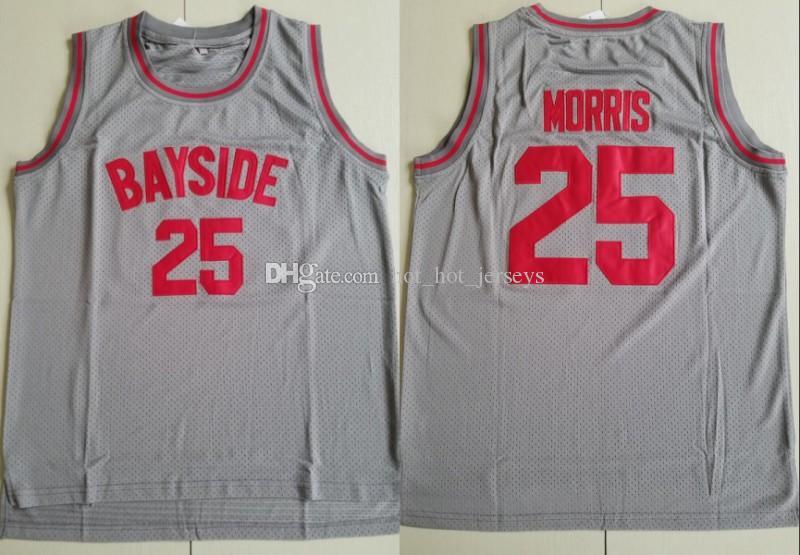 Para hombre # 25 ZACK MORRIS Uniforme' Salvados por la campana BAYSIDE JERSEY película Baloncesto Jersey gris cosido bordado del deporte camiseta de baloncesto