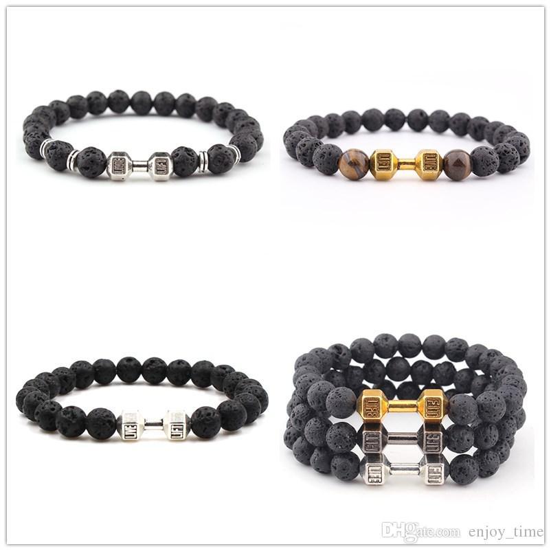 Lava Stein Silber Gold Hantel Perle Armband Diy ätherisches Öl Diffusor Armband für Frauen Männer Schmuck