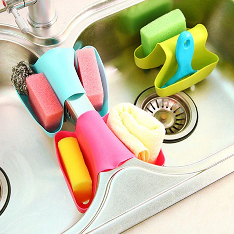 NEW Selling Plastic Double Sink Caddy Saddle Style Kitchen Organizer Storage Sponge Holder Rack Tool Draining Rack Kitchen Tools DBC BH3817