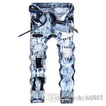 2019 Arm Мужские Проблемные рваные джинсы Байкер Slim Fit Мотоцикл Байкер Denim для мужчин Модельер Hip Hop мужские джинсы хорошего качества # 167