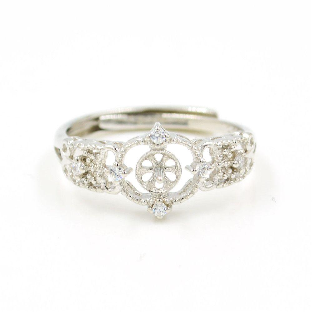 S925 стерлингового серебра кольцо крепления Клевер кольцо крепления для женщин ювелирные изделия из жемчуга diy бесплатная доставка регулируемый открытие кольцо крепления