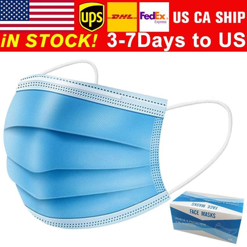 Einweg-Gesichtsmasken 3 Schicht-Ear-Loop-Staub-Mund-Masken-Abdeckung 3-Ply Non-woven Einweg-Staubmaske weiche atmungsaktive Outdoor-Teils 1B02