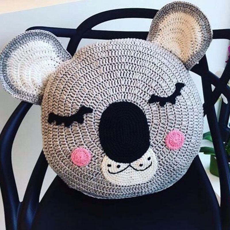 INS Cuddly Crochet sleepy Bunny Cushion And Snuggle Sleepy Bear Cushion On Bed Baby Pillow In children's Room As Christmas Gift SH190917