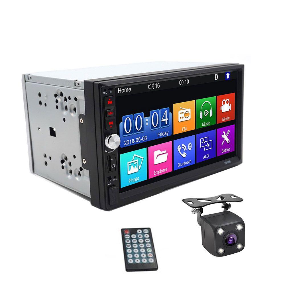 العالمي 7 بوصة 2 الدين سيارة الإذاعة MP4 / MP5 الشاشات التي تعمل باللمس USB FM الروبوت / دائرة الرقابة الداخلية مرآة السيارة وصلة الوسائط المتعددة لاعب مراقب للكاميرا