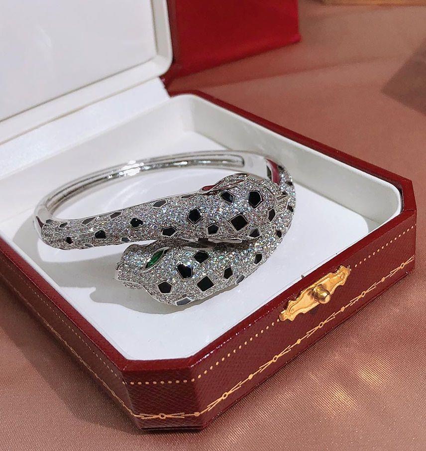 Оптовая высокого качества дизайнер двойной леопардовый манжеты кубического циркония проложили браслет 18K желтое золото / белое / розовое золото покрытием браслеты для женщин
