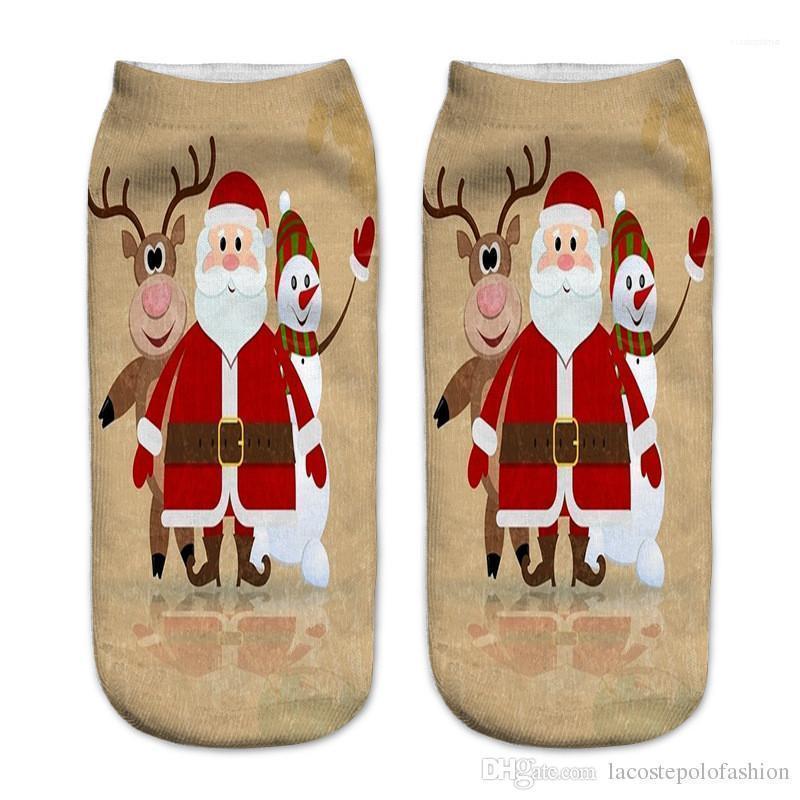 Deer Stampa Calzino Pantofole Donna Casual Calze Buon Natale Stampa donne Calzino moda Babbo Natale Milu