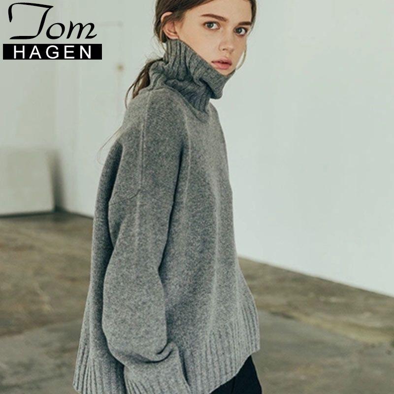 Gola de inverno Camisola Das Mulheres 2018 Solto Pullovers De Malha Jumper Mulheres Manga Longa Camisola de Grandes Dimensões Feminino Puxar Femme Hiver