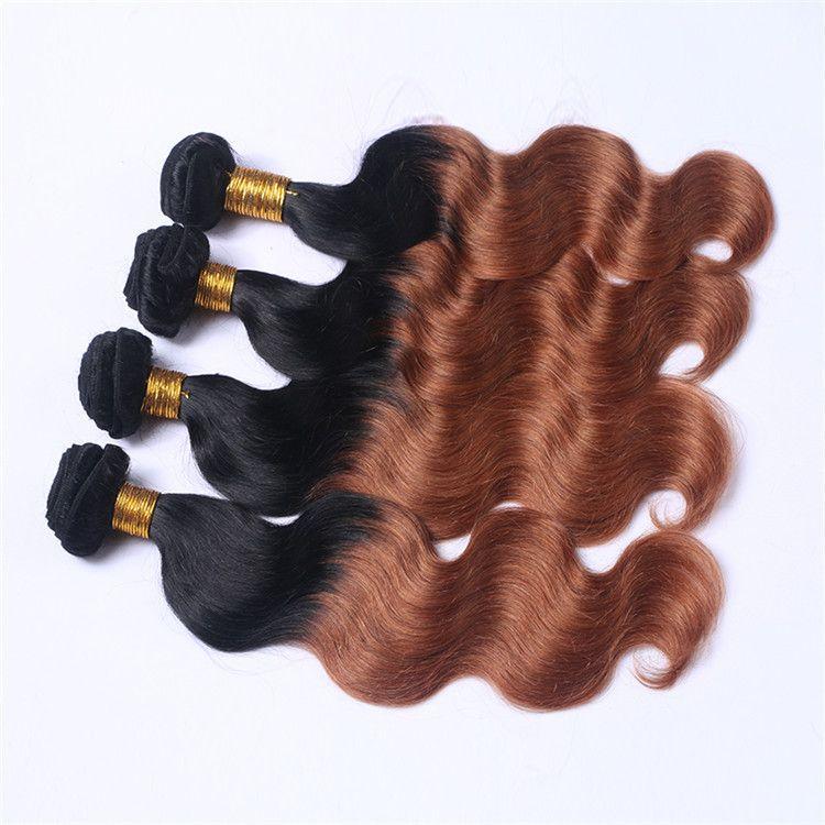 26-30 Inch 2 Tone Ombre Hair Bundles Body Wave Brazilian Virgin Hair 3 or 4 Bundles 1b/33 Color 100% Human Hair Extension