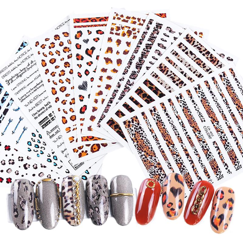 9 disegni Leopard Stampa 3D adesivi per unghie decalcomanie Adesivi per tatuaggi avvolgenti per decorazioni per unghie Manicure Tips Foil TRCA401-409-1