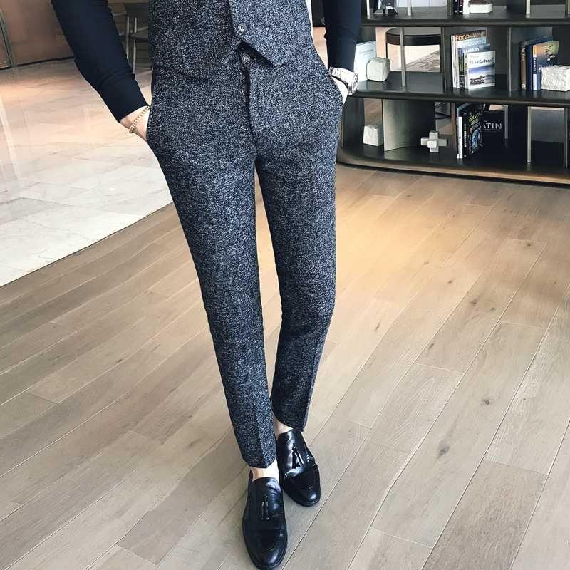 Pantaloni da uomo slim fit pantaloni da uomo vestito convenzionale pantaloni coreano Stile Pantalon Hombre Man Ufficio Profumo Masculino Magro