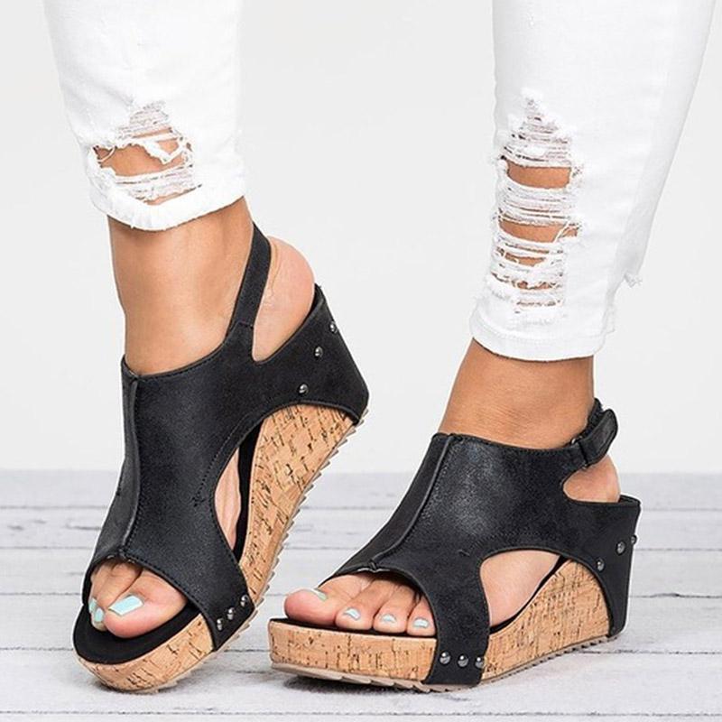 Gladiator Sandals piattaforma delle donne incunea scarpe di cuoio femminile 2020 Estate Zuppa inglese Open Toe alta nero mujer Flip Flops Slipper