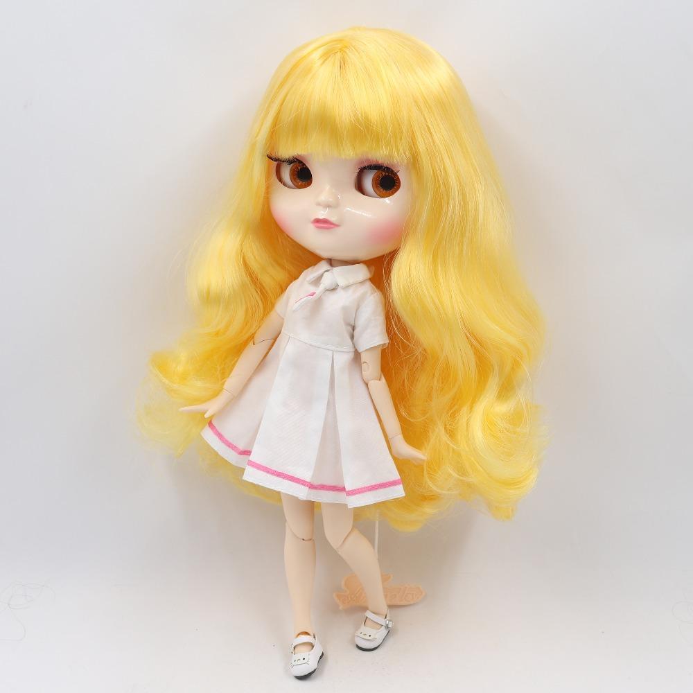 Eisige DBS-Puppe Gelbes goldenes Haar Weißes Haut A-Becher Gelenkkörper Azonkörper BL1200 30cm