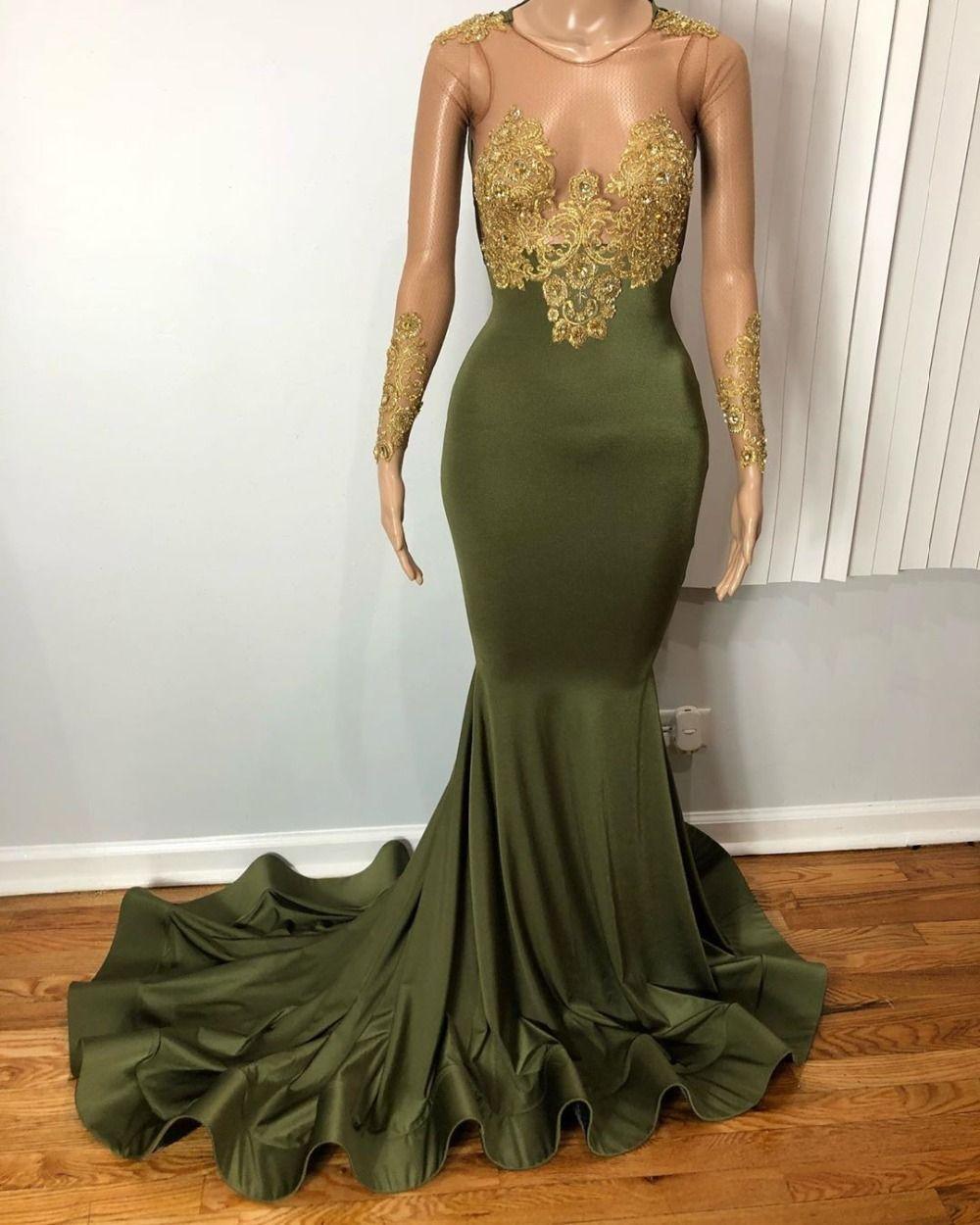 Zeytin Yeşil Illusion Uzun Kollu Denizkızı Balo Dressess 2020 Altın Aplikler Dantel Plus Size Afrika Siyah Kızlar Akşam Parti Abiye