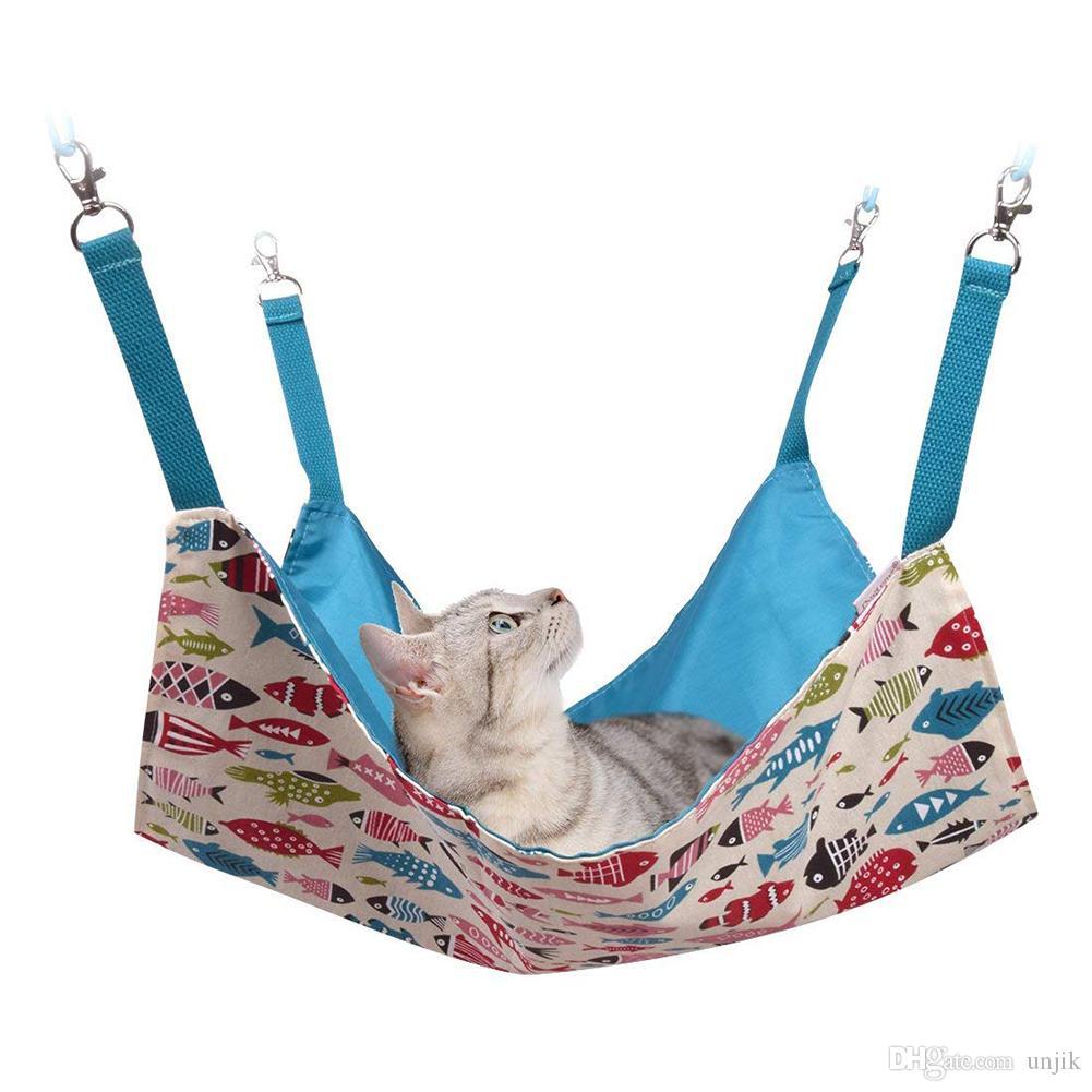 Katzen-Hängematten-Bett-Gebrauch mit Käfig oder Stuhl, umschaltbare kleine Haustier-Hängematte mit 2 Seiten für Kätzchen, Frettchen, Häschen, Kaninchen, Ratten-Hängematte