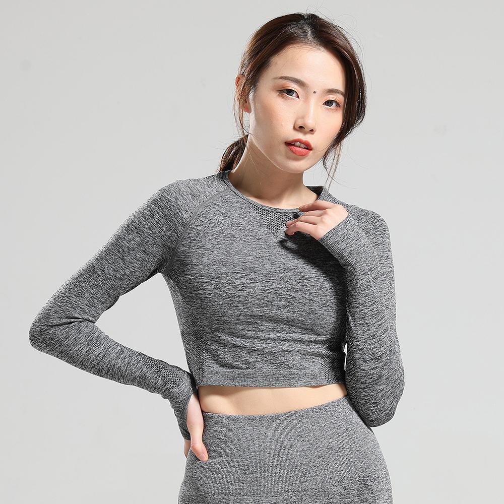 Vital Бесшовные спортивные рубашки с длинным рукавом Женщины Crop Top Йога Спорт футболки тренировки Верхняя спортивная одежда для женщин Gym Fitness T200401