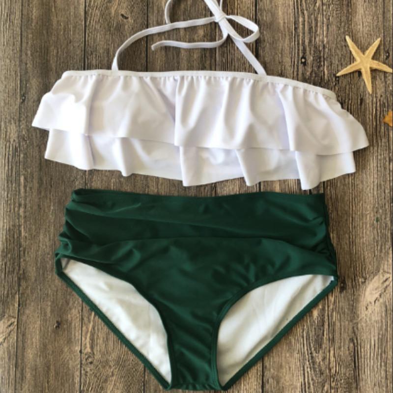 Tamaño más 2019 Nueva altura de la cintura traje de baño empuja hacia arriba el halter de las mujeres traje de baño acolchada volante Biquini