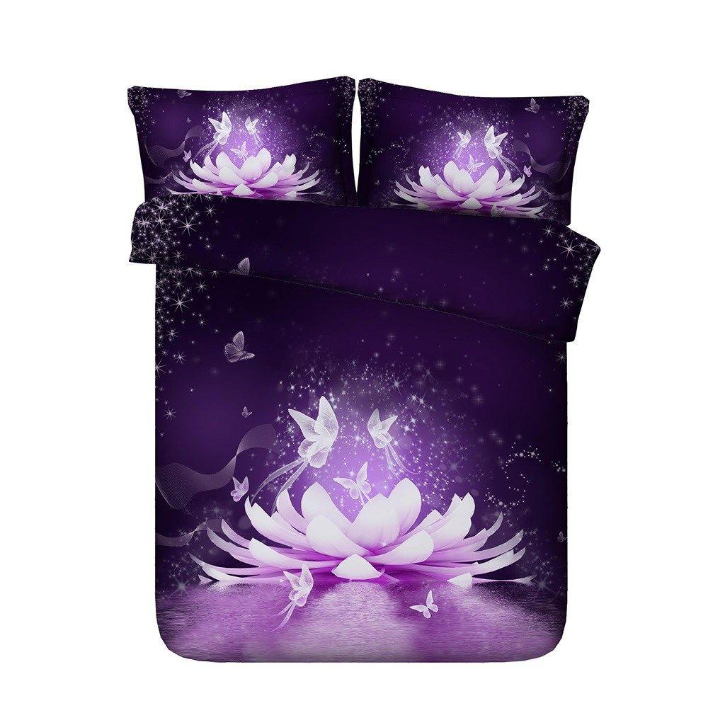 Фиолетовый цветок лотоса пододеяльник бабочки Покрывало Постельные принадлежности Наборы азиатских Цветочные Star Galaxy Розовый Синий Белый покрывалом 3 шт Постельные принадлежности