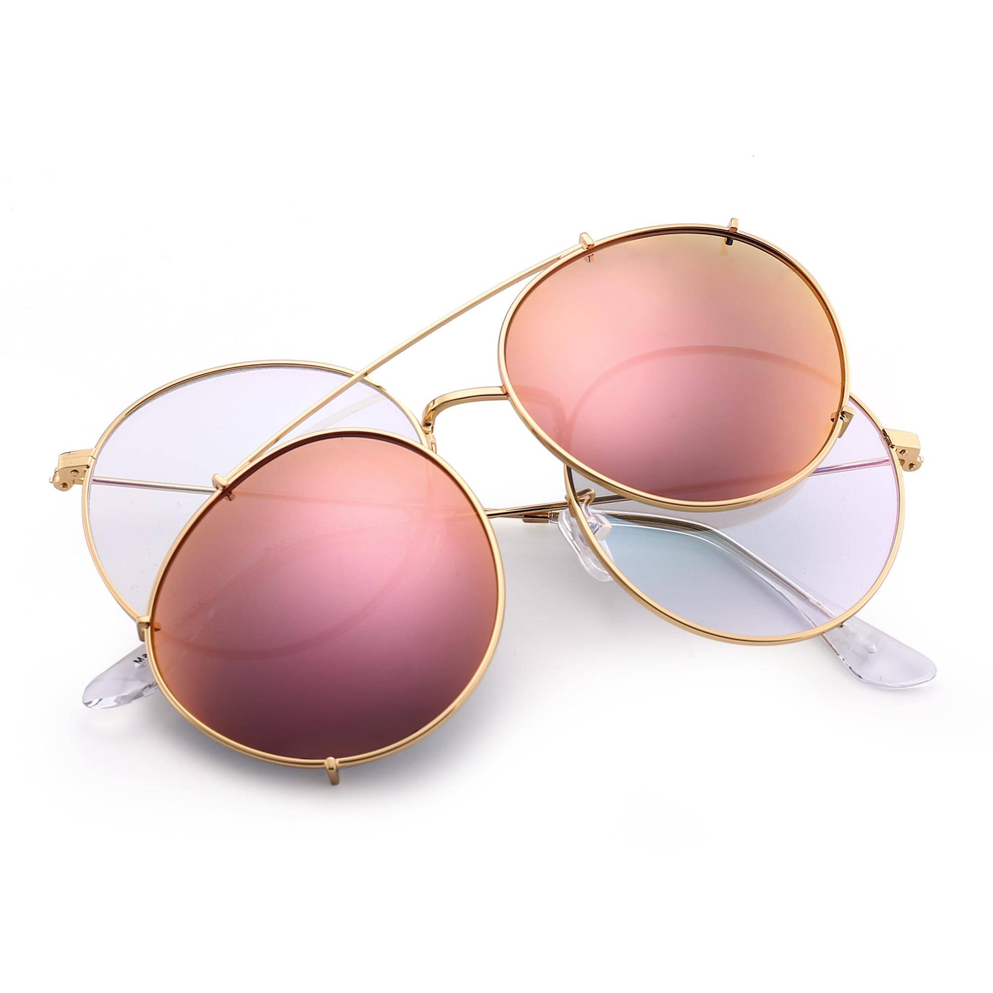 Luxury-SteamPunk Vintage Round Style Polarized Sunglasses Clip On Lens Removable Brand Designer Sun Glasses Oculos De Sol