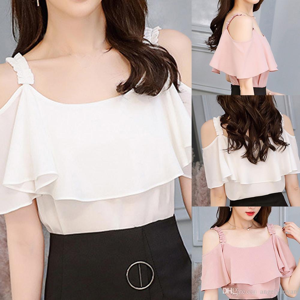 Femmes Blouses Direct Bouton vente solide 2020 Printemps Eté Nouveau Chemise à manches longues en mousseline de soie Femme Vêtements pour femmes Slim