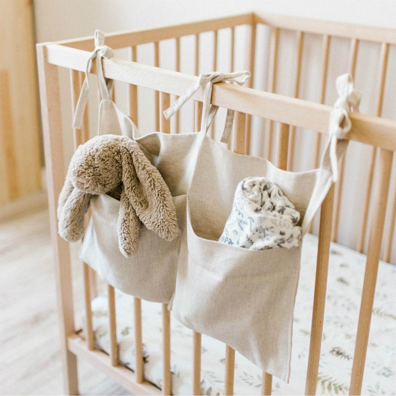Baby Crib Hanging Bag Diaper Pocket For Toy Storage Organizer Nursery Room Decor