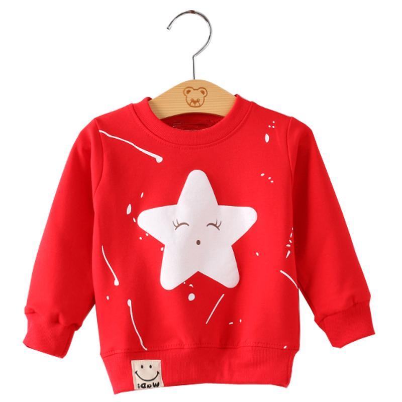 SeckinDogan Bebek Kazak Pamuk Uzun Kollu Erkek Bebek Giysileri Sevimli Yıldız Desen Bebek Kız Tişörtü O-Boyun Yenidoğan Hoodies
