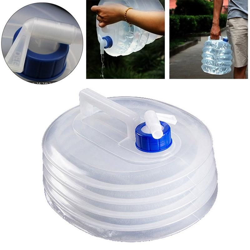 Folding Drinking Water Bucket Camping Hiking Water Container Storage Bag 5L UK