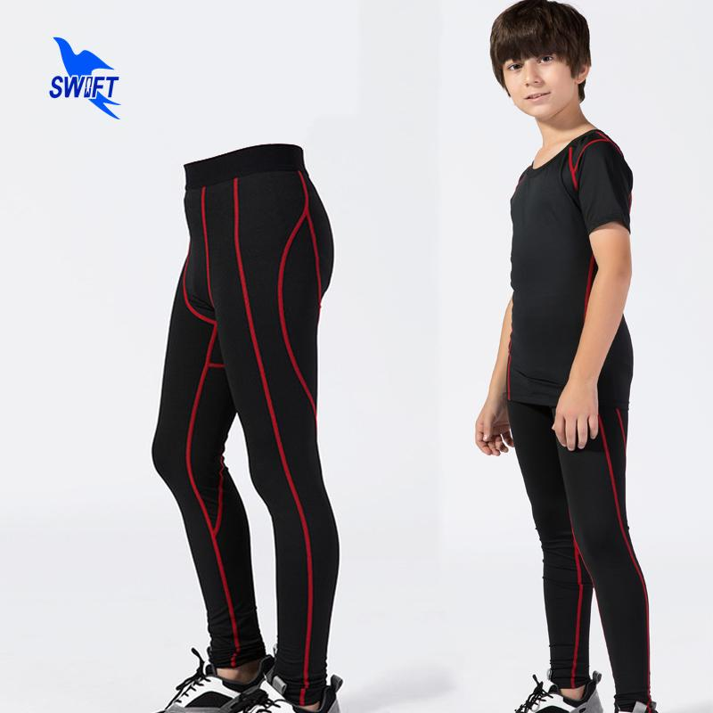Kids Boys Quick Dry Sports Trousers Compression Base Layer Running Leggings Football Soccer Training Pants Sports Stretch Tights