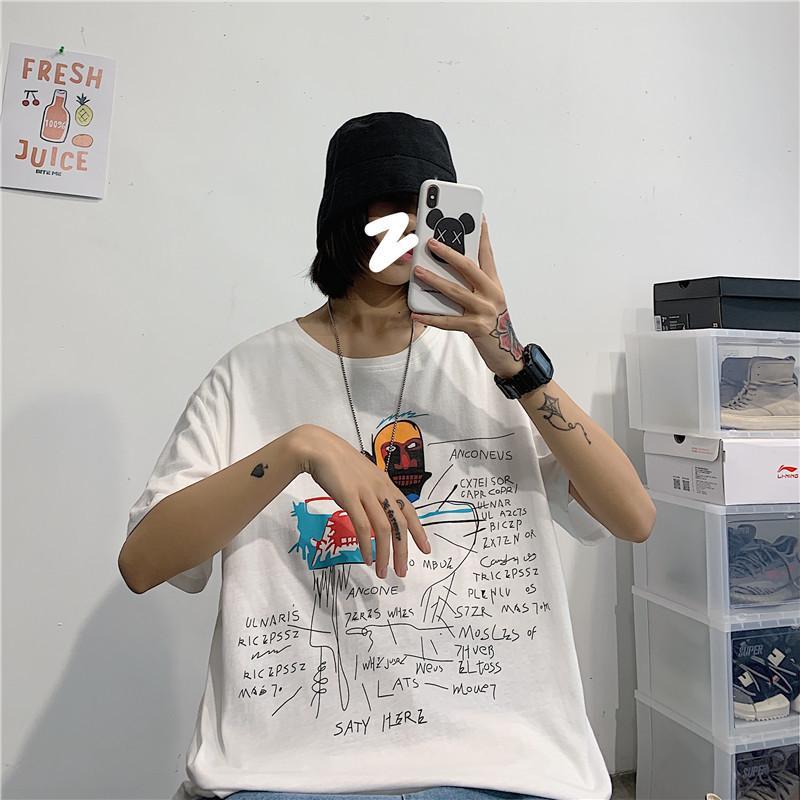 Uomini Harajuku estate 2020 magliette divertenti Stampato maschio casuale allentato Tees coreano maschile T-shirt 5XL