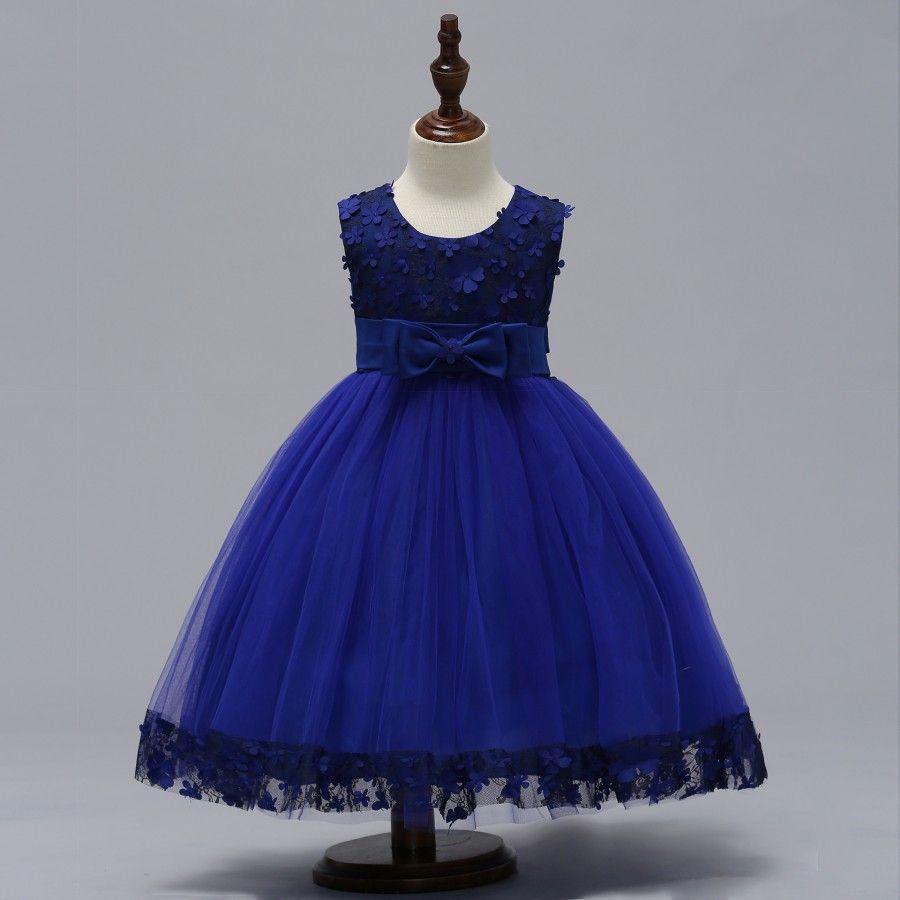 2019 Vintage Flower Girl Dresses Beautiful Burgundy Clothes Bleu Pourpre Vert foncé Avec Dentelle Bow Tutu Robes De Bal En Stock Pas Cher