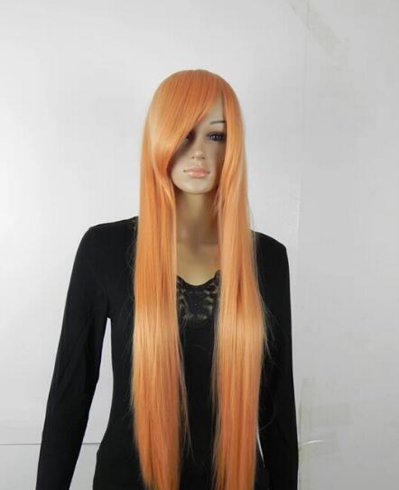 ÜCRETSIZ KARGO + + + Kadınlar Uzun Düz Turuncu Sentetik Saç Peruk