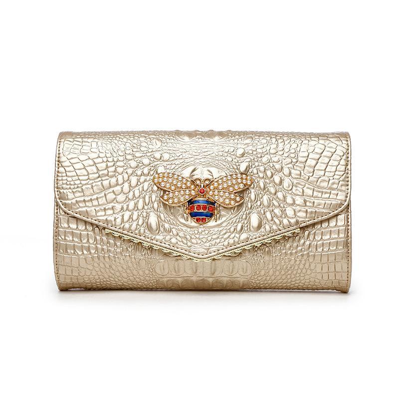 악어 여성 클러치 가방 여성 핸드백 고품질 진짜 가죽 가방 여성의 어깨 저녁은 우아한