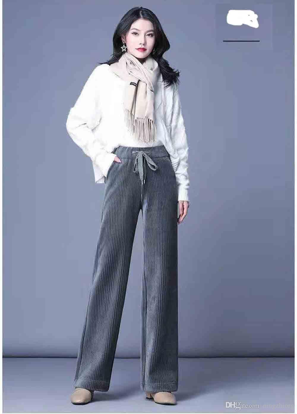2019 winter new large size high waist draped straight stripe pants fat corduroy pants loose casual wide leg pants women