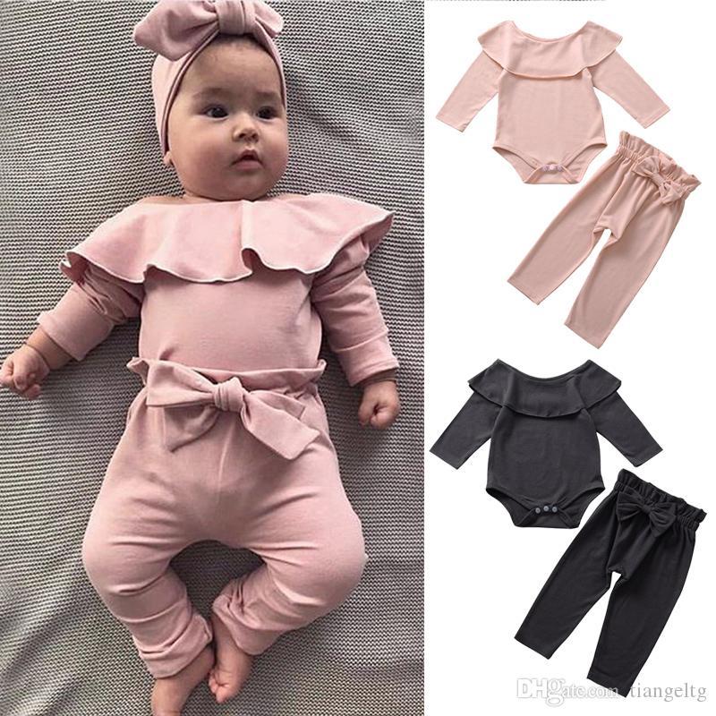 아기 소녀 의류 세트 뻗 장난 꾸러기 긴 소매 옷 여자 탄성 허리 바지 캔디 컬러 2 PC를 벌 0-3T 04