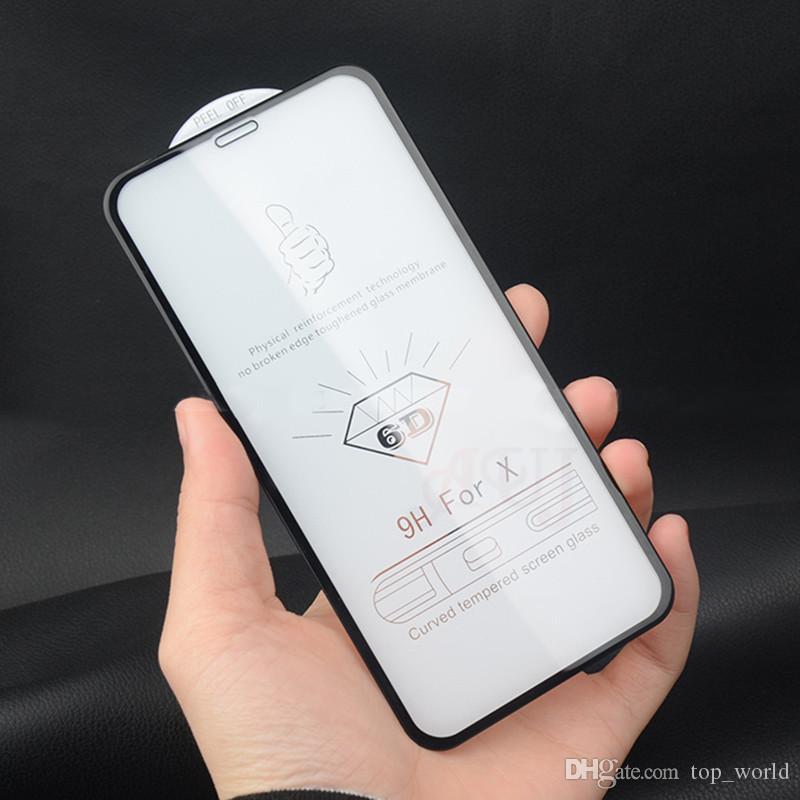 아이폰 XS MAX XR X 스크린 보호기에 대한 6D 유리 럭셔리 아이폰 X 7 8 플러스 전체 커버 필름에 대한 곡선 유리를 강화